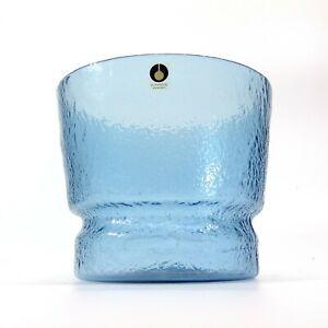 VINTAGE Scandinavian Blue PUKEBERG SWEDEN Textured ART GLASS Bowl