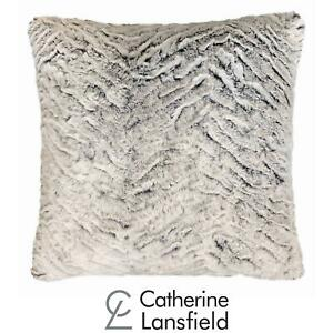 """Catherine Lansfield Wolf Faux Fur Cushion Cover Velvet Fleece Covers 17"""" x 17"""""""