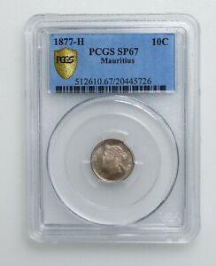 PCGS SP67 1906 1877-H Mauritius silver 10 cents K10043