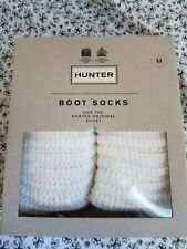 Hunter Womens White Half Cardigan Short Boot Socks Size Medium NIB New D1