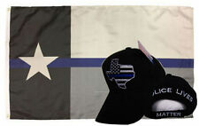 Wholesale Combo 3x5 Police Texas Thin Blue Line Flag & Police Texas Hat Cap
