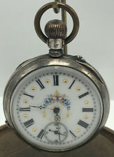 pocket Watch 800 Silver Tone floral Middle WORKS READ
