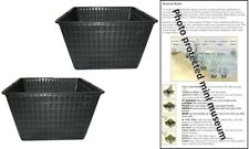 2 X 28cm square plastic aquatic pots baskets for water plants and pond & guide