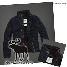 NWT Abercrombie & Fitch Mens MacIntyre Bridge Fur Jacket Coat Navy L A&F RARE