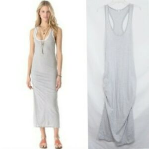 JAMES PERSE WOMENS STRIPED RACER BACK DRESS XL 4 X-LARGE GRAY RUCHED TANK MIDI