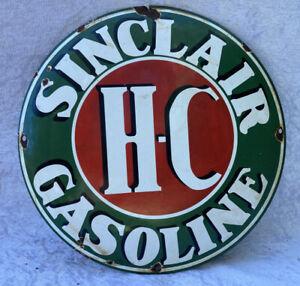 "Enamel ""SINCLAIC H.C GASOLINE"" Convex Sign"