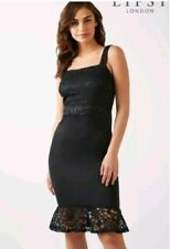 LIPSY BLACK LACE TOP FLUTE HEM CAMISOLE FITTED BODYCONE DRESS SIZE 8 NEW