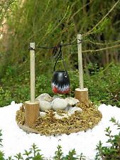 Miniature FAIRY GARDEN ~ Wood Stone Fire Pit Campfire Firepit w/ Pot & Light