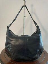 FRANCESCO BIASIA Black glazed Leather Suede Shoulder Slouched Tote Purse Bag