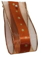 Stars Christmas Ribbon 40mm x 20m - Copper and Gold