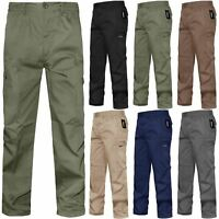 Mens Mian Elasticated Waist Combat Cargo 7 Pockets Work Loose Fit Trousers Pant