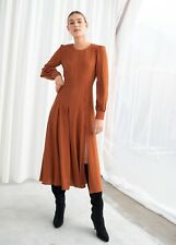 & other stories Long Sleeve Button Slit Midi Dress Rust Size 6