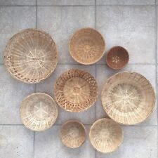 Set of 8 Vintage Wall Wicker Baskets Mat Wall Hanging Home Decoration Boho Tiki