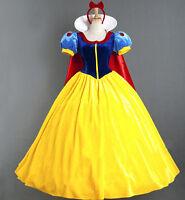 Women's Deluxe Snow White Fancy Dress Costume Fairy Tale Princess Queen Dress