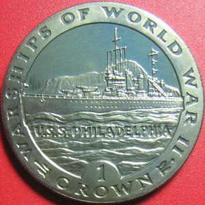 1993 GIBRALTAR 1 CROWN PROOF-LIKE BU USS PHILADELPHIA USA NAVY SHIP (no silver)