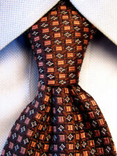 Barneys New York Brown Silk Tie Hand Made in Italy A4854
