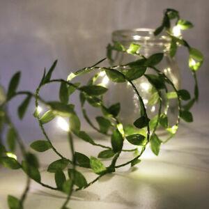 2m 5m 10m Ivy Leaves Garland LED Fairy String Light Leaf Wedding Xmas Decoration