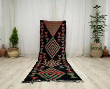 Moroccan Handmade Vintage Runner Rug 2'6x10'4 Berber Geometric Black Wool Rug