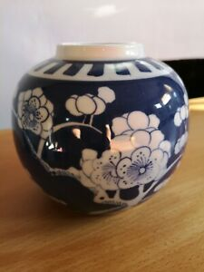 Vintage Oriental Ginger Jar Cherry Blossom / Prunus Blue & White No Lid 5'' VGC