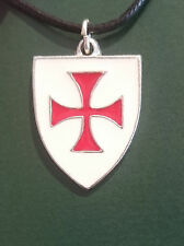KNIGHTS TEMPLAR NECKLACE  ENAMEL BADGE ON PEWTER. RED CROSS ON WHITE SHIELD