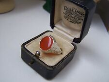 VINTAGE SOLID STERLING SILVER CARNELIAN SIGNET PINKY RING SIZE V 10.5 RARE