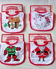 BABY COTTON CLOTH FUN BIB DRIBBLE CHRISTMAS/XMAS SANTA,SNOWMAN,REINDEER,ELF