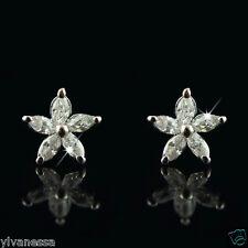18k white Gold GF Diamond simulant star petal stud earrings