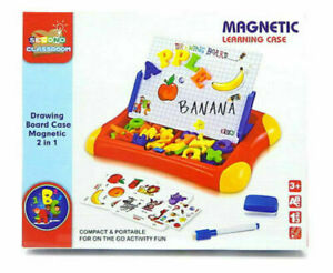 Magnetic Drawing Board Kids 2 in 1 Portable Learning Case Educational Toy