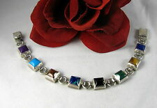 Sterling Silver Colorful Gemstone Mexico 29g Bracelet Feral Cat Rescue