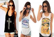 WOMENS NEW LADIES STUDDED CROSS RIHANNA COMIC VEST TANK TOP TEE SHIRT SIZE /8-14