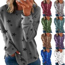 Women Casual Tunic Crew Neck Long Sleeve T Shirt Loose Star Print Tee Top Blouse