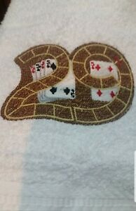 CUSTOM EMBROIDERED CRIBBAGE BOARD GAME CARDS HAND TOWEL SET