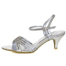 Special Occasion Kitten Heel Crystal Embellished Sandals With Ankle Straps Size