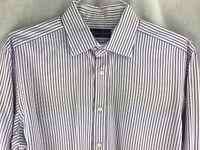 Ralph Lauren Purple Label Mens 16 1/2 Dress Shirt White Purple Stripes Spread