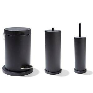 3 X Bathroom Accessories Rubbish Bin, Toilet Brush & Roll Holder Home Decor Set
