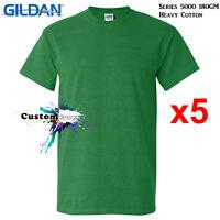 5 Pack Gildan Antique Irish T-SHIRT Basic Tee S-5XL Men Heavy Cotton