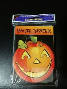 Amscan Vintage Halloween Party Invitations Jack O Lantern 20 Cards With...