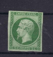 NAPOLEON EMPIRE N°12  5 ct vert foncé NEUF*signé Calves, sans aminci,1854 STAMP