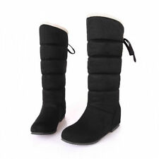 Women Knee High Boots Back Lace Up High Wedge Heel Suede Plush Warm Winter Shoes