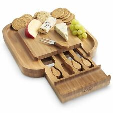 VonShef Square Slide Out Bamboo Cheese Board and 4 Piece Kn... No Sales Tax, New
