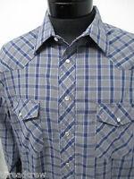 WRANGLER WESTERN BLUE GRAY PLAID PEARL SNAP DRESS SHIRT sz 17-36 mens L/S#4768