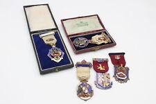 More details for 5 x vintage hallmarked .925 sterling silver masonic enamel jewels (104g)