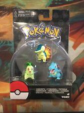 TOMY Pokemon Figures Chikorita, Cyndaquil, Totodile 3-pack (rare) Johto Starters