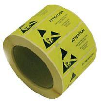 50x jaune esd prudence étiquettes ajustée 16 x 38mm anti-statique warning stickers