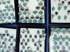 *US Seller*50 rings wholesale antique vintage style turquoise stone fashion ring