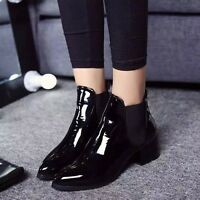 New Fashion Women Casual Patent Leather Ankle Riding Boots Low Heels Solid Shoes