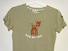 """T-Shirt rundhals """"Bleib mir treu"""" Reh Khaki/Grün Gr.S Adelheid (NP: 30€)"""