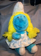 "VINTAGE~PEYCO 1981 WALLACE BERRIE SMURFETTE 10"" PLUSH TOY~STRING HAIR~VG"