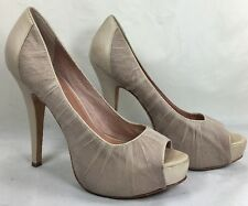 VINCE CAMUTO Light pink leather and Organza Peep toe platform heels Size 6.5 B