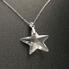 Collier pendentif étoile cristal Swarovski sur chaine 42 cm argent 925
